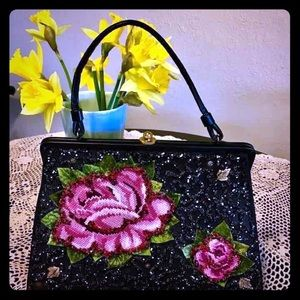 Soure Bags - Vtg Soure Rose Flower Embroidered Handbag Purse